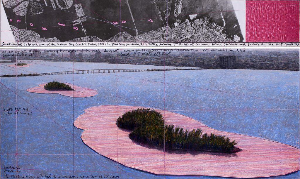 """Скица на арт инсталацията """"Обградените острови"""" на Христо Явашев-Кристо"""